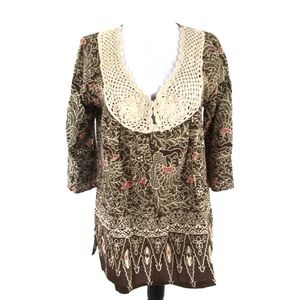 Joie Size S Brown Cream Crochet Cotton Tunic Top